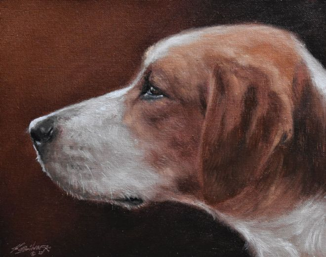 Beautiful John Silver Original Oil Painting Portrait Of A Foxhound Dog